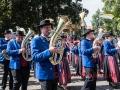 Erstmals mit Musik-Kapelle in Bad Wurzach: Die MK-Obereisenbach begleitet die Blutreitergruppe Tettnang